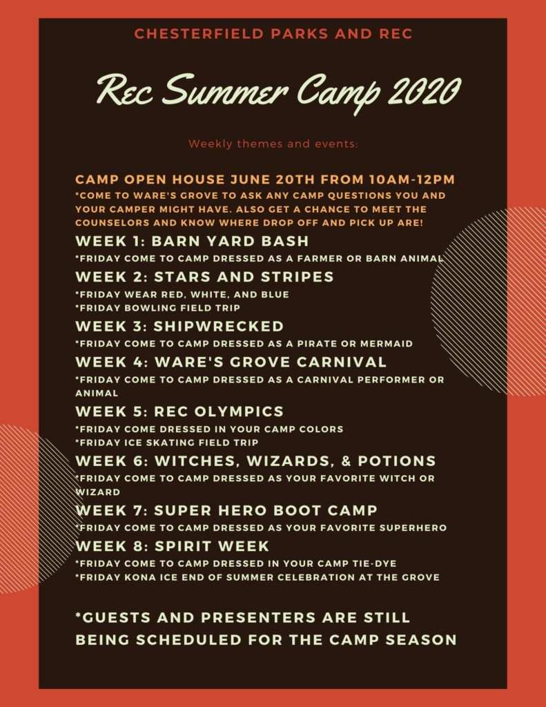 Rec Summer Camp 2020   NHChesterfield Parks & Recreation